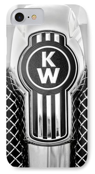 Kenworth Truck Emblem -1196bw IPhone Case by Jill Reger
