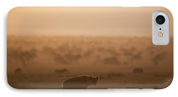 Kenya, Hyena With Cubs At Dawn In Ol IPhone Case