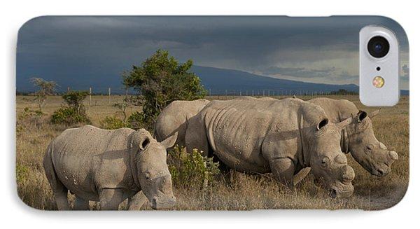 Kenya, Southern White Rhinos In Ol IPhone Case