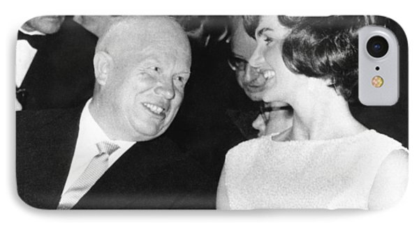 Khrushchev And Jackie Kennedy IPhone Case by Underwood Archives