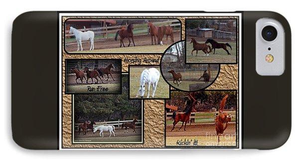 Horses Kickin It  IPhone Case by Bobbee Rickard