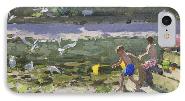 Kids And Seagulls IPhone Case by Andrew Macara