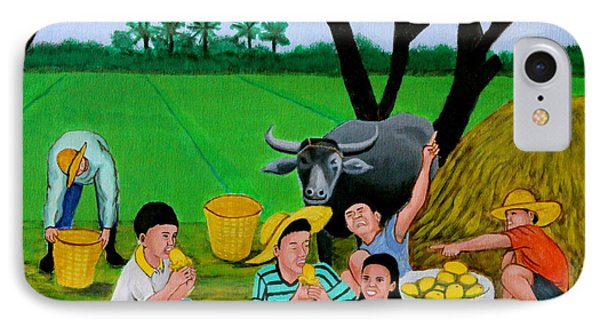 Kids Eating Mangoes Phone Case by Cyril Maza