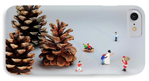 Kids Merry Christmas By Pinecones Phone Case by Paul Ge