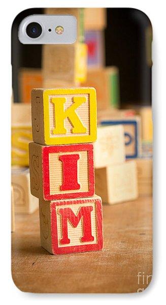 Kim - Alphabet Blocks Phone Case by Edward Fielding
