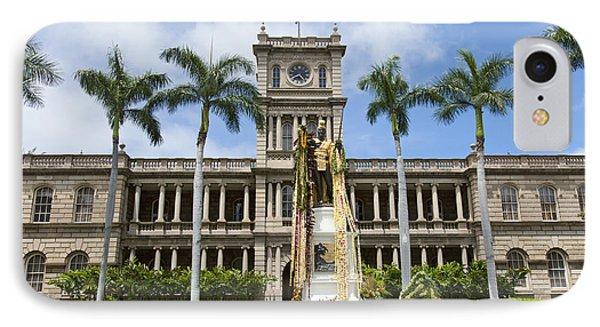 King Kamehameha In Leis Phone Case by Brandon Tabiolo