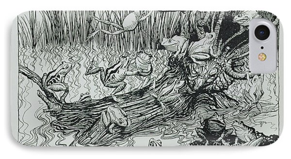 King Log, Illustration From Aesops Fables, Published By Heinemann, 1912 Engraving IPhone Case by Arthur Rackham