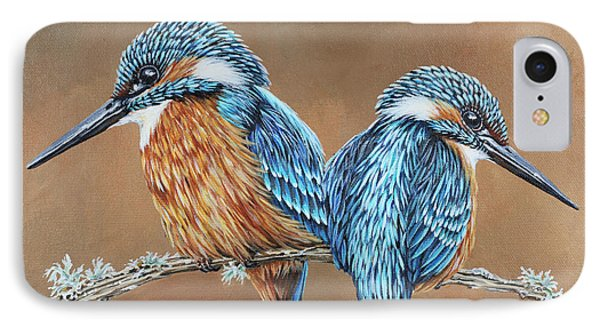 IPhone Case featuring the painting Kingfishers by Jane Girardot
