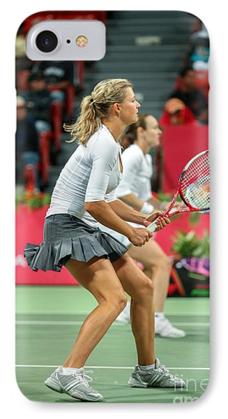 Kirilenko And Hingis In Doha IPhone Case by Paul Cowan