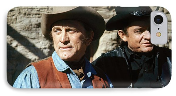 IPhone Case featuring the photograph Kirk Douglas Johnny Cash A Gunfight  Old Tucson Arizona 1971 by David Lee Guss