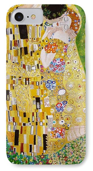 IPhone Case featuring the painting Kiss G.klimt by Nina Mitkova