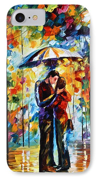 Kiss Under The Rain 2 IPhone Case by Leonid Afremov