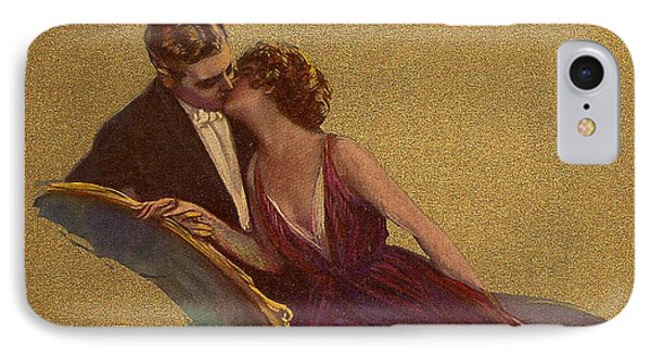 Kissing On The Chaise-longue Valentine Phone Case by Sarah Vernon