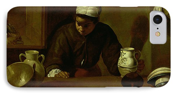Kitchen Maid With The Supper At Emmaus, C.1618 Oil On Canvas IPhone Case by Diego Rodriguez de Silva y Velazquez