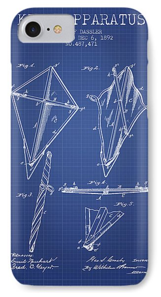 Kite Apparatus Patent From 1892 - Blueprint IPhone Case by Aged Pixel
