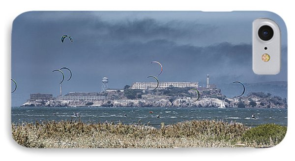 Kite Surfing Alcatraz IPhone Case by Chuck Kuhn
