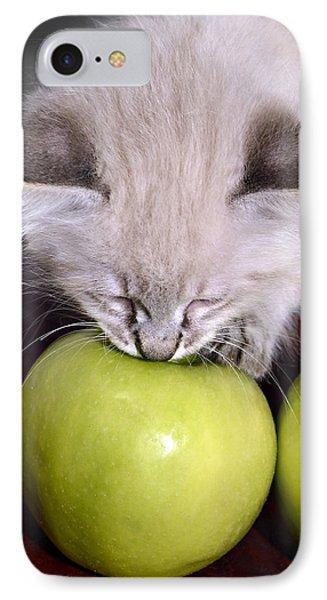 Kitten And An Apple Phone Case by Susan Leggett