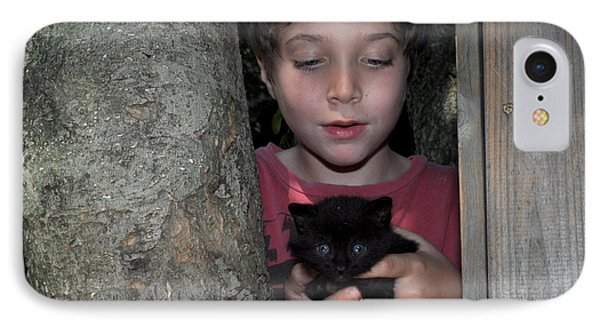 Kitten And Child IPhone Case by Diane Lent