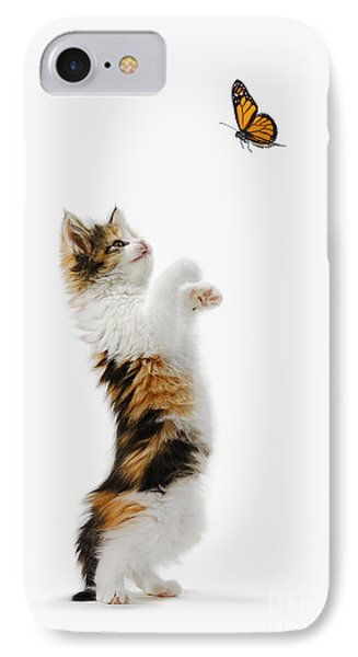 Kitten And Monarch Butterfly Phone Case by Wave Royalty Free