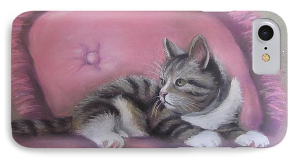 IPhone Case featuring the painting Kitten On Pink Pillow by Melinda Saminski