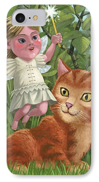 Kitten With Girl Fairy In Garden Phone Case by Martin Davey