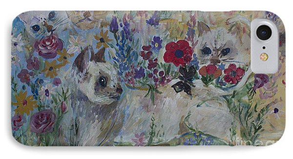 Kittens In Wildflowers IPhone Case by Avonelle Kelsey