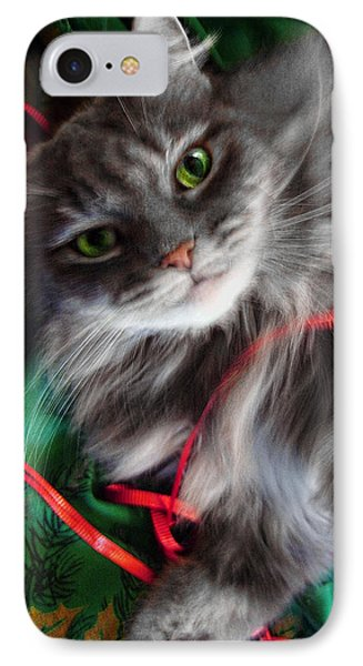 Kitty Christmas Card IPhone Case by Louise Kumpf