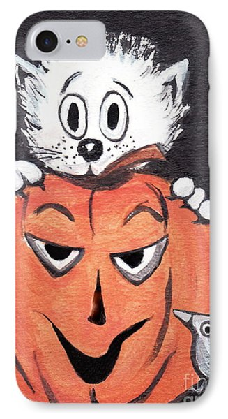 IPhone Case featuring the painting Kitty Hates Halloween by Joyce Gebauer