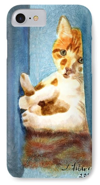 Kitty In A Corner IPhone Case by Judy Filarecki