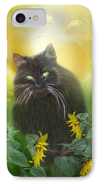 Kitty In The Sunflowers Phone Case by Carol Cavalaris