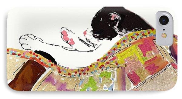 Kitty Sleeping Under Quilt IPhone Case by Carol Berning