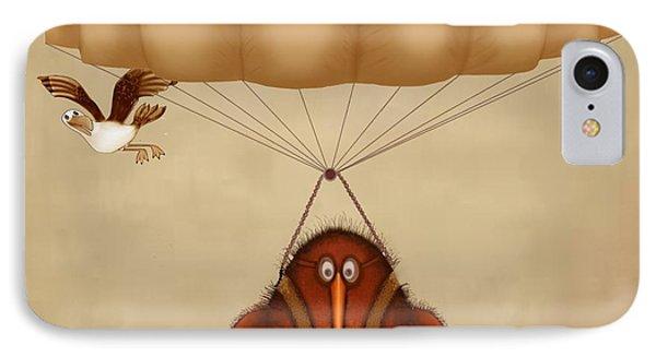 Kiwi Bird Kev Parachuting IPhone Case by Marlene Watson