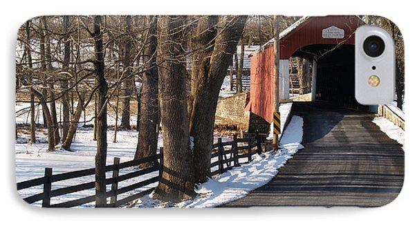 Knecht's Bridge On Snowy Day - Bucks County Phone Case by Anna Lisa Yoder