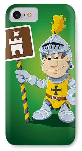 Knight Cartoon Man Castle Sign IPhone Case