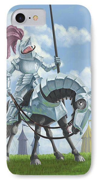 Knight In Shining Armour On Horesback Phone Case by Martin Davey