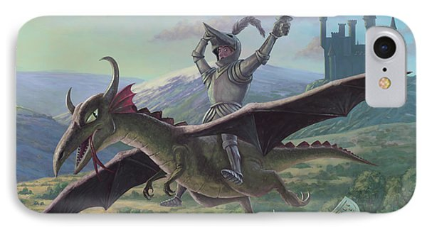 Knight Riding On Flying Dragon Phone Case by Martin Davey
