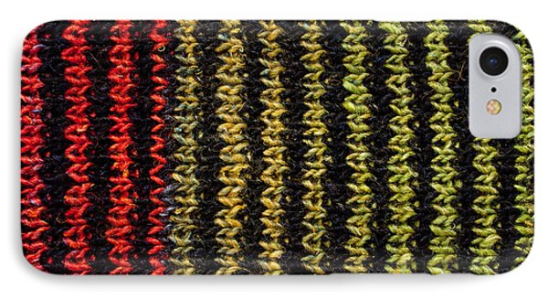 IPhone Case featuring the photograph Knitted Striped Scarf by Les Palenik