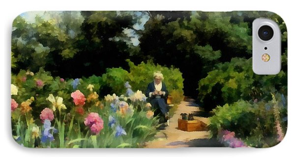 Knitting In The Garden IPhone Case by Peder Mork Monsted