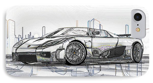 Koenigsegg Ccx Sketch  IPhone Case by Louis Ferreira