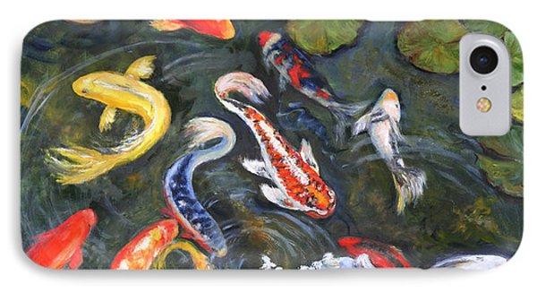 IPhone Case featuring the painting Koi Among The Lily Pads by Sandra Nardone