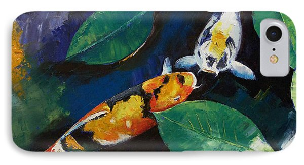 Koi And Banyan Leaves IPhone Case by Michael Creese