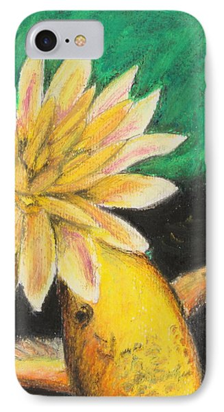 IPhone Case featuring the painting Koi And The Lotus Flower by Jeanne Fischer