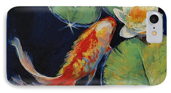 Koi And White Lily IPhone Case by Michael Creese