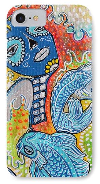 Koi Fish Sugar Skull Phone Case by Laura Barbosa