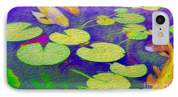 Koi Fish Under The Lilly Pads  IPhone Case