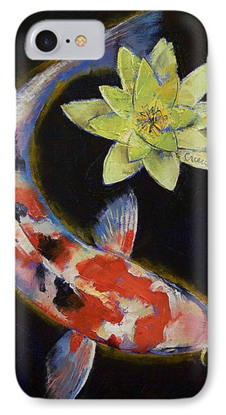 Koi With Yellow Water Lily IPhone Case by Michael Creese