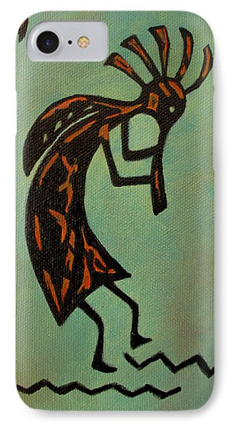 IPhone Case featuring the painting Kokopelli Flute Player by Roseann Gilmore