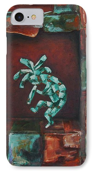 Kokopelli Set In Stone IPhone Case by Judy Lybrand