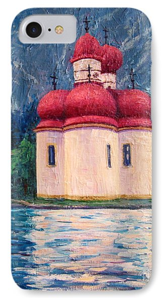 IPhone Case featuring the painting Konigsee Church by Cheryl Del Toro