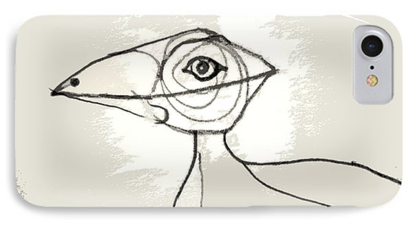IPhone Case featuring the drawing Koo-koo Bird by Kjirsten Collier